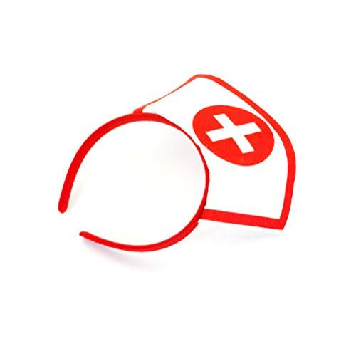 Oblique Unique® Krankenschwester Haarreifen weiß/rot mit Kreuz - sexy Nurse (Krankenschwester Kostüm Accessoires)