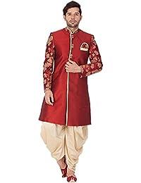Vastramay Men Silk Blend Sherwani Set (Maroon_VASMSW010nCDGO)