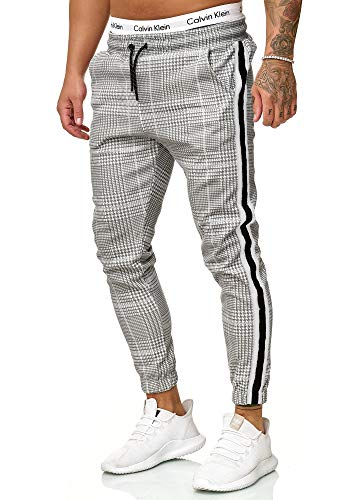 OneRedox Herren | Jogginghose | Trainingshose | Sport Fitness | Gym | Training | Slim Fit | Sweatpants Streifen | Jogging-Hose | Stripe Pants | Modell 1226 Grau Weiss L