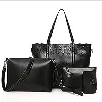 Sac fourre-tout en cuir vintage pour femme sac à main sac à main mode Messenger Bag (quatre d'un ensemble)