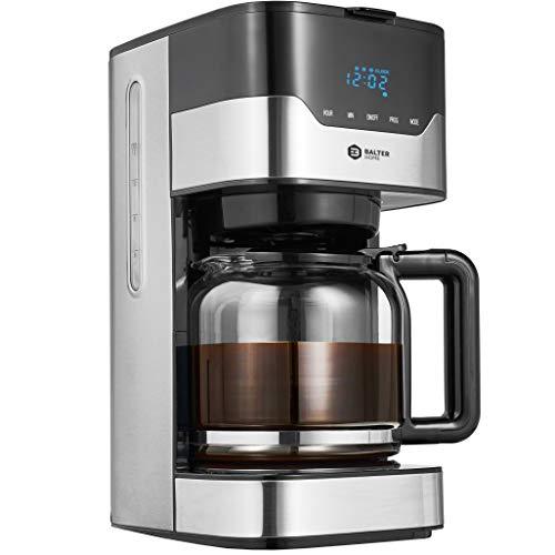 Balter Filter Kaffeemaschine mit Timer ✓ 3 Brühstärken ✓ LCD Display und Touchtasten ✓ Permannentfilter ✓ Glasskanne für 12 Tassen ✓ Warmhaltefunktion ✓ Farbe: Edelstahl/Schwarz