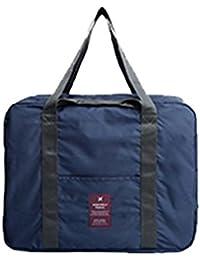 Oflamn Toile Sac de Voyage pour Femmes et Hommes - Bagage Cabine Sac de Sport Cabas Vol Sac avec Compartiment à Chaussures - Sac D'organisateur de Toilette Supplémentaire (blue set)