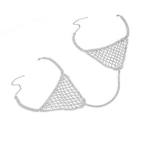 MEMIND Europa und Amerika Schmuck Accessoires Exaggeration voller Diamant-Körper-Kette Flash-Drilling Bikini Brust Kette Tide Produkte anzeigen Kleidung,C