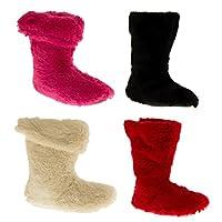 De Fonseca Girls Miniplush Faux Fur Slouch Boot Slippers