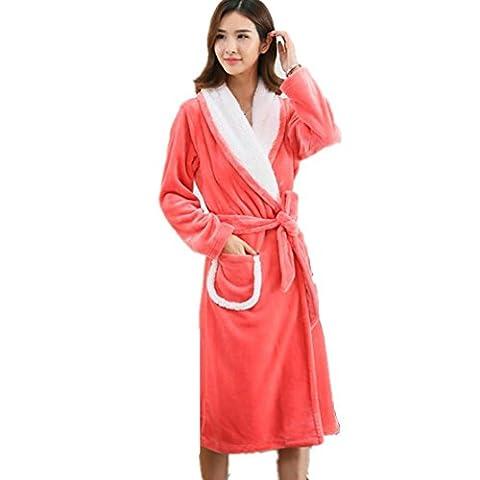 DMMSS Wome Herbst und Winter Nightgown Flanellpyjama Coral Fleece Bademantel Nachtwäsche . watermelon red female models . (Baby In Watermelon Kostüm)