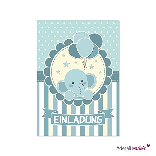 Preisvergleich Produktbild Detailverliebt! 15 niedliche Einladungskarten im praktischen Postkartenformat DIN A6, dv_174 – passend für den nächsten Kindergeburtstag! | Kindergeburtstag, Babys, Einladung, Feier, Geburtstag, Kinder, Elefant, Ballons #detailverliebt