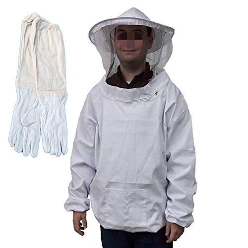 Alaof Schutzbekleidung FüR Imker SchüTzend Schleier Weiß Passen Und 1 Paar Bienenzucht Lange ÄRmel Handschuhe