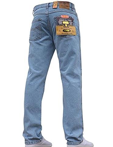 Mens Straight Leg Heavy Duty Work Basic 5 Pocket Plain Denim Jeans Pants All Waist & Sizes Bleachwash 30W X 33L