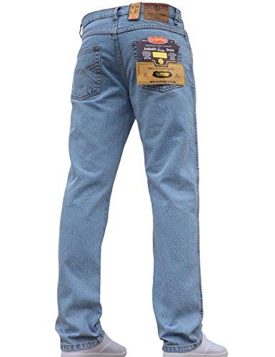Mens Straight Leg Heavy Duty Work Basic 5 Pocket Plain Denim Jeans Pants All Waist & Sizes Bleachwash 40W X 31L