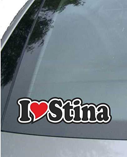 INDIGOS UG - Aufkleber/Autoaufkleber - I Love Heart - Ich Liebe mit Herz 15 cm - I Love Stina- Auto LKW Truck - Sticker mit Namen vom Mann Frau Kind (Lkw-fenster-folie)