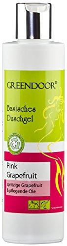 Greendoor Basisches Duschgel Pink Grapefruit 250ml biologisch abbaubar, Natur für die Haut aus Bio Kokosöl, natürlich frisch fruchtig herb, OHNE Silikon Sulfate Parabene, outdoor geeignet, natural