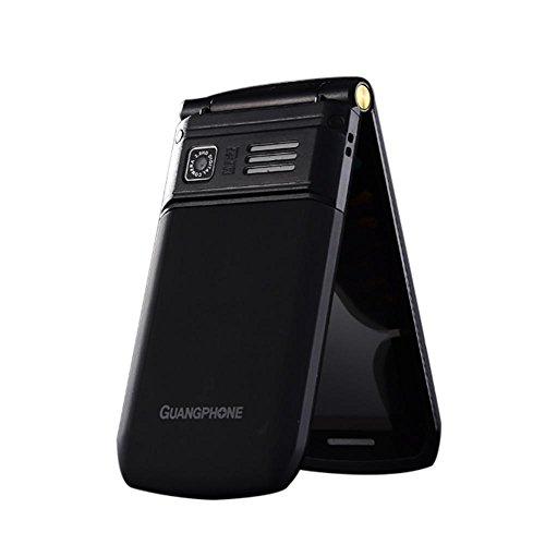 Wokee Mobiltelefon für Senioren, Altersgerechtes Klapphandy mit Tasten E9 Dual-Screen-Dual-Sim-Karte Lange Standby-FM Senior Phone Flip-Handy für alte Menschen (Schwarz)