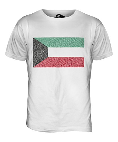 CandyMix Kuwait Kritzelte Flagge Herren T Shirt Weiß