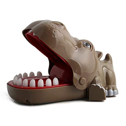 LSQR Hippo Intera Persona mordere Dito Gioco Giocattolo, Gioco Genitore-Bambino Giocattolo per Bambini Intero morso Animale Hippo Sfida Giocattolo,Brown