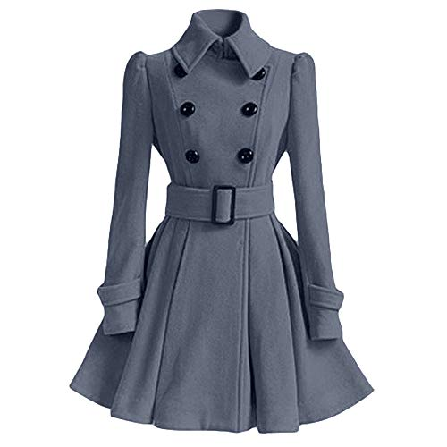 Vectry Lange Trenchcoat Damen Elegant Retro Nachahmung Wolle -