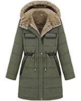 Women's Cotton-padded Clothes Winter Coat Hood Parka Overcoat Long Jacket Green and Blue Color