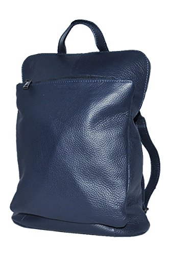 BORDERLINE - 100% Made in Italy - Echtes Leder Frauen Rucksack - BEATRICE Blau