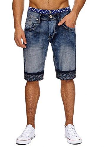 Herren Jeans-Shorts · in Regular Fit mit Used Details, Crumble Crinkle Bleached Stone Washed, Bermuda mit geradem Bein (Straight Leg) und Muster Print · H1857 von Jaylvis (Bermuda Leg)