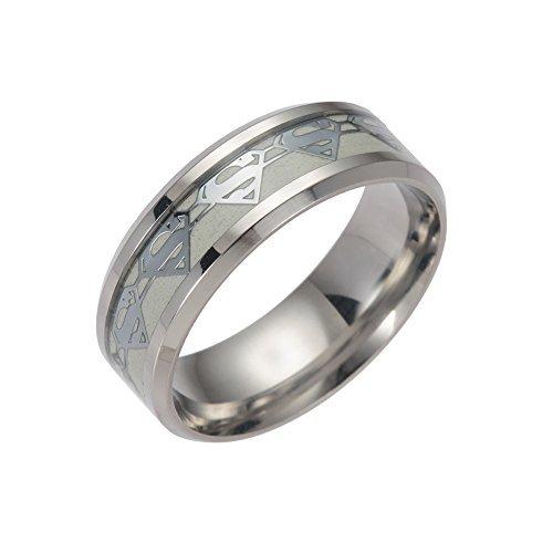 ERLUER Men's Stainless Steel Rings Luminous Glow in The Dark Superman Band Women Jewelry Ring