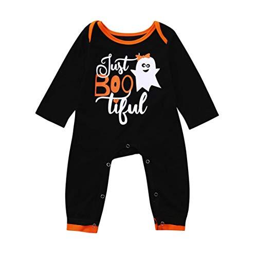 Jumpsuit,Infant Kleinkind Baby Mädchen Jungen Ghost Strampler Party Cosplay Halloween Kleidung Overall Moginp (100, Schwarz) Ghost-jumpsuit
