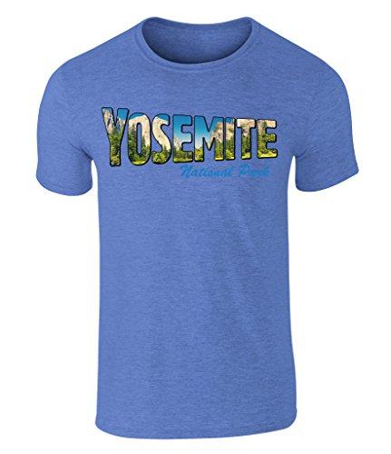 CALIFORNIA BLACK PLATE - Yosemite National Park USA, Vintage-Style Grafik T-Shirt, S - XXL Heather Royal