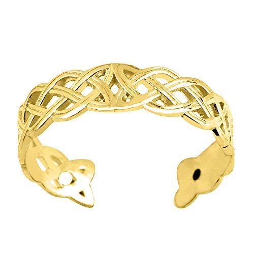 JewelryAffairs 14K Gelb Gold Zehenring keltischer Knoten Weave Design Manschette Stil verstellbar 4mm