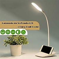 Mirbe Lampada da Tavolo Ricaricabile a LED Dimmerabile, Lampada da Lettura Protezione degli Occhi, Lampada da Scrivania a LED Touch Sensitive, Lampada Libro 3 Livelli di Luminosità con 360° Girevole