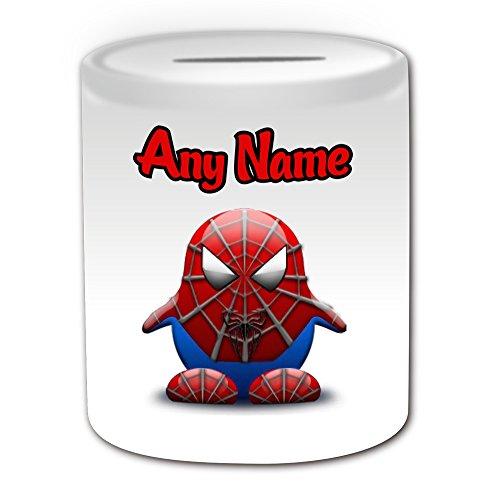 Personalisiertes Geschenk–Peter Benjamin Parker Spardose (Pinguin Film Charakter Design Thema, weiß)–Jeder Name/Nachricht auf Ihre Einzigartiges–Kostüm Film Superheld Hero Marvel Comics Avengers Spider Man (Marvel Heroes Beste Spiderman Kostüm)