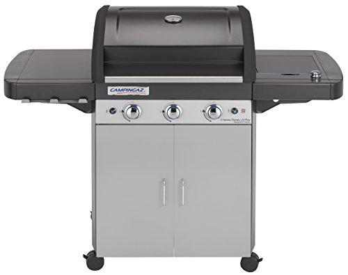 Campingaz bbq a gas, 3 series classic ls plus, barbecue grill a 3 bruciatori con fornello laterale, 9.6kw di potenza, sistema di pulizia instaclean, griglia e piastra in ghisa