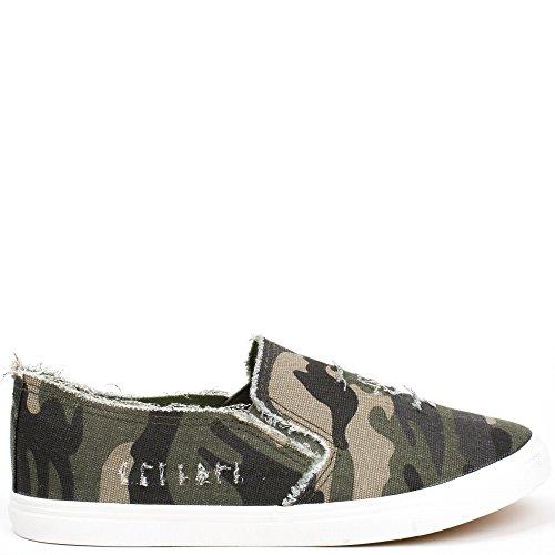 Camouflage on Slip Ideale Strappato Stampa Militare Scarpe Katiana wq7IqHf