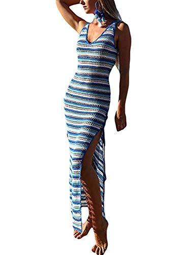 Damen Badeanzug Baden (DreamCatcher Damen Badeanzug, Strandmode, Badeanzug, Aushöhlen, gestrickt, für Strand, Baden Gr. S, Blue&White)