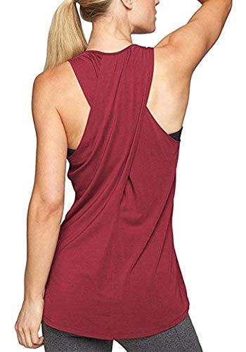 Lofbaz Maglia Yoga Donna Crossback Activewear Allenamento Canotta Racerback - Rosso Vino - S