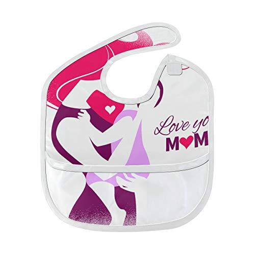 Lätzchen Wasserdicht Glücklich Muttertagskarte Schöne Silhouette Benutzerdefinierte Weicher Fleck Baby Fütterung Dribbeln Sabbern Lätzchen Rülpsen Für Kleinkinder 6-24 Monate Glücklich Muttertagskart