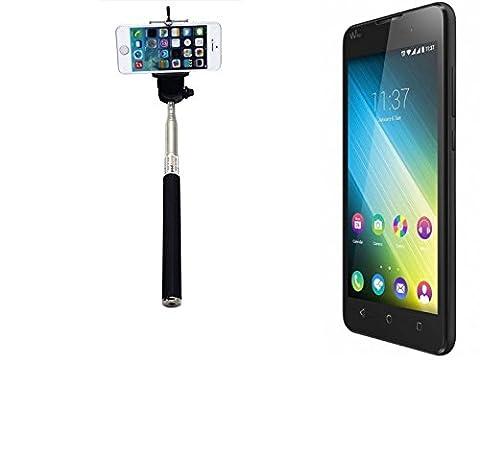 Selfie bâton / Selfie-Stick / Bouton / Nappe pour Wiko Lenny 2, noir Manfrotto, perche télescopique, Autoportrait