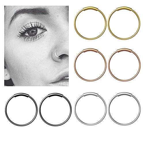 Fullsexy YHmall 8 Stück Edelstahl Nasenpiercing Fake Septum Nasenring Piercing Scharnier Clicker Hoop Lippen - 8mm MEHRWEG