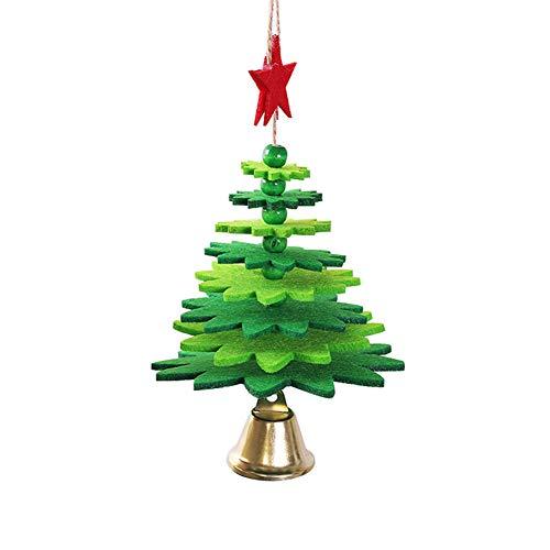 3D Weihnachtsbaum Ornamente Wind Chime Hänge Glocke Non-Woven-Dekoration für Tür-Fenster-Hauptdekor-grün