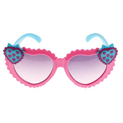 MagiDeal Kinder Mädchen Polarisierte Sonnenbrille Herzbrille Partybrille 100% UV400 Schutz Gläser - Rosa