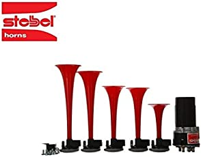 COVERWELL Stebel 5 Pipe Air Pressure Musical Mp5 Horn Kit - (Relay Included)