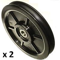 Pack de 2 ruedas de polea de nylon con ranura redonda de 10 mm 120 mm de diámetro 10 mm rodamiento 100 kg capacidad precisamente mecanizado en la UE (120-10-10)