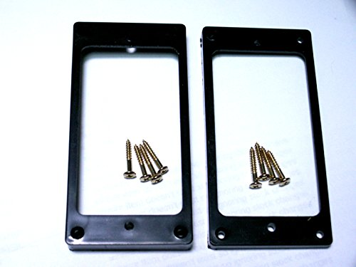 gold screws ring LP guitar 2 black curved humbucker pickup surrounds rings