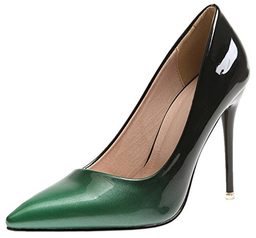 Vestir Zapatos de tacón Para Mujer Verde Gradientes Stiletto Boda Tacones altos Zapatos De BIGTREE 38 EU