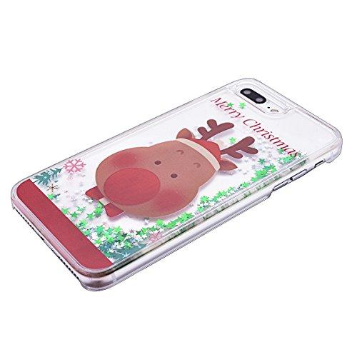 GrandEver Hart Handyhülle für iPhone 7 Plus Tasche Durchsichtig Hülle Flüssiges Case Fließen Flüssig Bling Schwimmend Treibsand Ultra Dünnen Glitzer Glänzend Schutzhülle Bling Transparent Hardcase Kra Weihnachten Hirsch