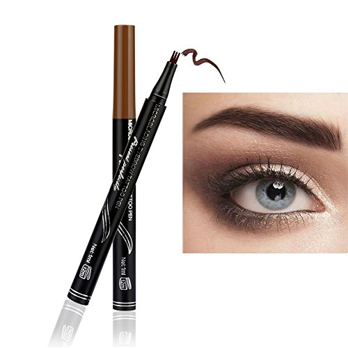 Gabelspitze Augenbrauenstift mit 3 Spitzen,KISSION 3 Kopf Augenbraue Tattoo Bleistift Wasserdicht...