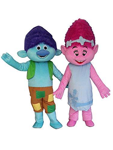 Poppy und AST Erwachsene Halloween Maskottchen Kostüm Kleid Outfit L Mehrfarbig (Troll Kostüme Für Halloween)