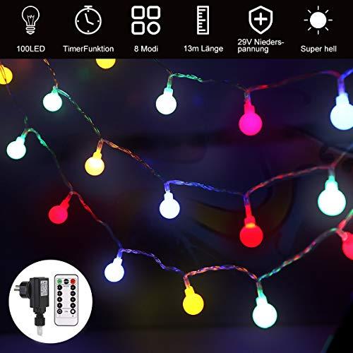 led lichterkette außen und ihnen bunt, GreenClick 13m 100 Leds Glühbirne Lichterkette mit Fernbedienung Timer,8 Modi Globe Lichterkette outdoor und outdoor, deko für Party Balkon Hochzeit Weihnachten (Outdoor-lichterkette Globe)