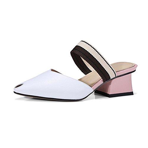 Gjde Verão Sapatos Casuais Sandálias E Chinelos Pequena Fêmea Cabeça De Peixe De Espessura Com Vestido De Festa Branco Casual
