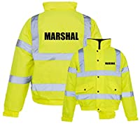 Marshal Pre Printed Hi-Vis Bomber Jacket Hi Viz Waterproof Coat EN ISO 20471 Class 3