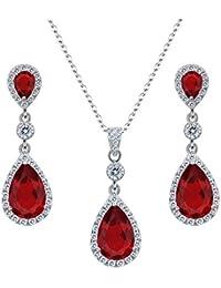 Clearine Damen 925 Sterling Silber Hochzeit Braut Cubic Zirconia Unendlichkeit Tropfen Anhänger Halskette Dangle Ohrringe Set