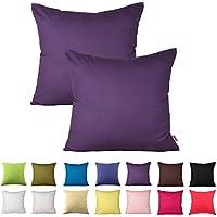 PLANDV Juego de 2 Fundas de Almohada Decorativas de Algodón Macizo Liso, Disponible en 15 Colores y 9 Tamaños (55x55cm,Purple)