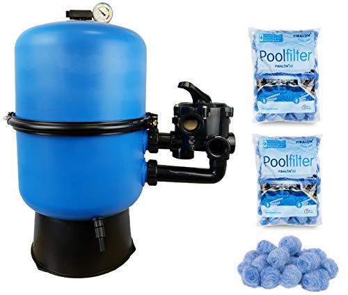 well2wellness Pool Sandfilter Behälter Sandy.Split 2-geteilt Ø 400 mm mit 6-Wege-Ventil Plus 2 x 350g Filtermaterial Fibalon 3D